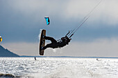 Kite boarders on Turnagain Arm in Southcentral Alaska.