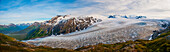 Panorama scenic of Exit Glacier and the Harding Icefield, Kenai Fjords National Park, Southcentral Alaska