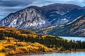 Autumn scenic of Tagish Lake south of Whitehorse, Yukon Territory, Canada