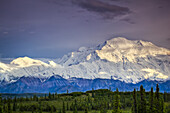 Scenic view of Mt. McKinley in the evening, Denali National Park & Preserve, Interior Alaska, Summer