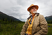 Portrait of a man visiting the Eagle River Nature Center, Chugach State Park, Southcentral Alaska