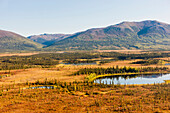 Aerial view of Cosmos Mountain and surrounding lakes and wetlands, Shungnak, Arctic Alaska, Autumn
