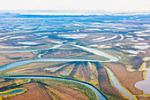 Aerial view of wetland lakes and rivers of the Selawik National Wildlife Refuge, Arctic Alaska, summer