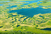 Aerial view of the wetlands adjacent to the kuskokwim River, spring, Southwest Alaska, USA.