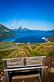 View of Passage Canal and Whittier from Portage Pass, Chugach National Forest, Southcentral Alaska, Summer.
