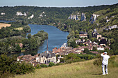 panorama of chateau gaillard on the seine, the white chalk cliffs and the village of le petit andely, les andelys, eure (27), normandy, france
