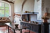 the kitchen in the bonport abbey, pont-de-l'arche, eure (27), normandy, france