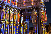 illumination of the north door, new scenography at the notre-dame cathedral for the evening show 'chartres in lights', chartres, eure-et-loir (28), france