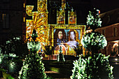 illumination of the french-style gardens by andre le notre and the sound and light show 'madame de maintenon ou l'ombre du soleil' evoking the story of the secret wife of king louis xiv, scenography by xavier de richemond, chateau de maintenon, eure-et-lo
