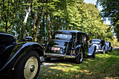 parade of collector cars, 80 years of the front-wheel drive 'traction avant', legendary car in the park of the chateau saint-simon, la ferte-vidame, eure-et-loir (28), france