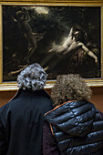couple of visitors in front of endymion, effect of the moon, also called endymion's sleep, anne-louis girodet de roussy-trioson, museum of the louvre, paris (75), france