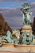the fontaine de l'observatoire or fontaine des quatre parties du monde for the four parts of the world, luxembourg gardens, 6th arrondissement, paris (75), france