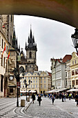 church of our lady before tyn dominating the square in the old city, prague, bohemia, czech republic
