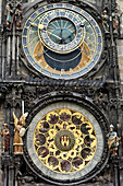 astronomical clock on the square in the old city, prague, bohemia, czech republic