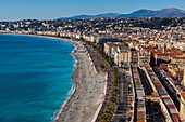general view of nice and the mediterranean sea with the beach, the promenade des anglais and the flower market in the foreground, nice (06), alpes-maritimes, paca, riviera, france