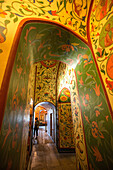 saint basil's cathedral, corridor decorated with floral motifs, moscow, russia