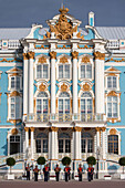 south facade of the catherine palace, tsarskoie selo, situated in pouchkine near saint petersburg, russia