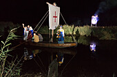 festival of saint louis, the ramparts, actors playing louis ix and the queen re-enact the departure for the crusades on a boat on the encircling canal, pyrosymphonic performance, medieval festival, celebration of the 800 year anniversary of the birth of l