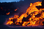 the volcano holuhraun erupting and spewing lava and toxic gasses (sulfur dioxide) over northern europe, baroarbunga volcanic system, northern iceland, europe