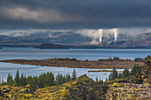 geothermal plant of nesjavellir seen from the thingvellir national park, site of the old parliament where the independence of iceland was proclaimed, listed as a world heritage site by unesco, a fault zone and active volcano zone, the golden circle, south
