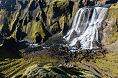 fagrifoss falls on the route leading to the volcano laki, southern iceland, europeiceland, europe