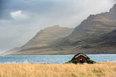 house with a grass roof, town of stodvarfjordur, eastern fjords, iceland, europe