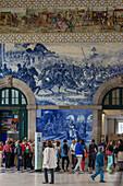 hall and azulejos fresco that retraces the main battles in portugal's past, porto train station, estacao de sao bento, porto, portugal