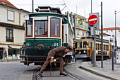 electric tramway, manually manoeuvred shunting, porto, portugal