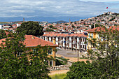 panorama of the town of ayvalik on the shores of the aegean sea, the olive riviera, north of izmir, turkey
