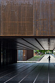 the soulages museum houses the biggest collection of the artistÆs works in the world, he bequeathed to his town of birth more than 500 works, paintings, engravings, serigraphs, lithographs, rodez, (12) aveyron, midi-pyrenees, france