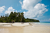 'Turtle Beach' dive site, boat tour with Barefoot Scuba, coastal forest without palms, Northwest Coast, Havelock Island, Andaman Islands, Union Territory, India