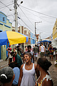 Street on the market, weekly market Monday and Friday in the center of Andarai, eastern border of the Chapada Diamantina National Park, Andarai, Bahia, Brazil