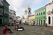 Largo do Pelourinho, the most famous square of the Old Town, blue church Nostra Senora do Rosario dos Homens Preto, in the back Igreija / Convento do Carmo, historic center, Pelourinho, Salvador de Bahia, Bahia, Brazil