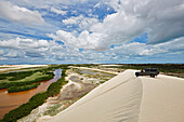 On the Tatajuba sand dunes, lagoons are filled by rainwater, ride with 4WD, Tatatjuba, west Jericoacoara, Ceara, Brazil