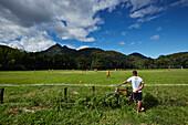 Soccer field on the main road SP -125 in Ubatuba, in Parque Serra do Mar, Costa Verde, Sao Paulo, Brazil