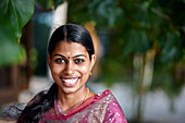 Young woman is an employee of Erandia Marari, Ayurveda Beach Resort, Mararikulam, south Kochi, Kerala, India