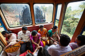 Diesel Locomotive X 37397 of the Nilgiri Mountain Railway, 2nd class compartment (General Compartment), family Reddy from Chennai, direction Conoor, Nilgiri Hills, Western Ghats, Tamil Nadu, India