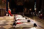 Catholic priest ordinations at Notre Dame cathedral, Paris, France