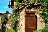 Europe, France, Lot,  door in Saint Cirq Lapopie village