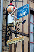 France, Brittany, Rochefort en Terre, close up of a craftsman sign