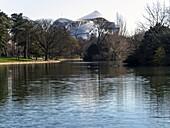 France, Paris, Bois de Boulogne, Saint-James pond, Louis-Vuitton foundation in background (architect : Frank Gehry)