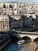 Paris, Bateau Mouche (tourist river boat) on the Seine from Notre-Dame tower