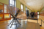 France,Paris, 3rd district, Museum of Arts and Crafts, Energy Collection, In the left foreground a solar oven dating from the late 19th century