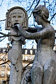 'France, Paris 5e area,Luxembourg garden, sculpture ''la bocca de la verita'' by Blanchard (19e century)'