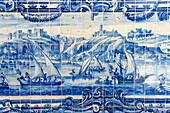 Panel in Blue-white tile (azulejo) in a cloister of Convent of Sao Francisco, Salvador da Bahia, the city of the Holy Saviour of the Bay of all Saints on the northeast coast of Brazil , South America