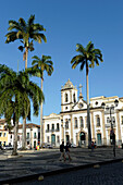 Dominican church of the Third order of Sao Domingos Gusmao-XVIII century Portuguese architecture in Rococo style-facade on Terreiro de Jesus square in Salvador da Bahia, the city of the Holy Saviour of the Bay of all Saints on the northeast coast of Brazi