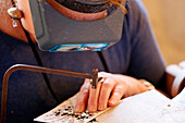 France,Seine et Marne, Blandy les Tours, Crafts, Focus on an artisan preparing an engraving intaglio