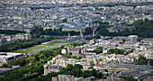 Europe, France, Paris, aerial view of the Esplanade des Invalides, The Grand Palais and the Petit Palais  in  background, The Alexander III bridge