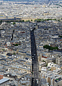 Europe, France, aerial view of the rue de Rennes in Paris, in the background the church of Saint-Germain and the Louvre