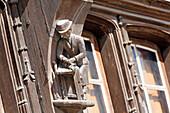 France,Seine et Marne, Moret sur ??Loing, Medieval village, House neo Gothic style, Sculpture in front